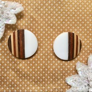 1960s Vintage Wood Button Clip-On Earrings